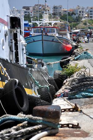 Transportation: ships tied to the dock stock photo, Mediterranean port of Heraklion, in Crete, Greece by Fernando Barozza