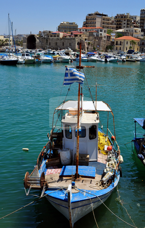 Fishing boat stock photo, Fishing boat. Port of Heraklion, Crete, Greece by Fernando Barozza