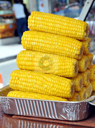 Corn cobs stock photo, Corn cobs being displayed at street market by Fernando Barozza