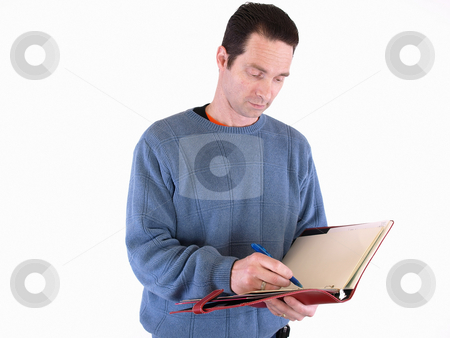 Getting the Facts stock photo, An adult male taking notes in a binder, isolated against a white background. by Robert Gebbie