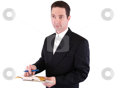 Taking Contributions stock photo, Adult male in a suit holding a clipboard with envelopes and a pen. Isolated on a white background. by Robert Gebbie
