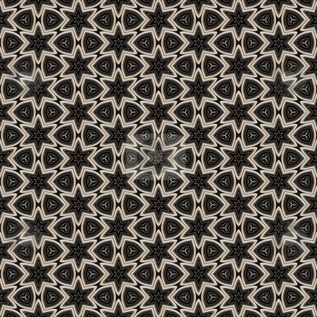 Metal victorian star pattern stock photo, Seamless texture of metallic shapes on black background by Wino Evertz