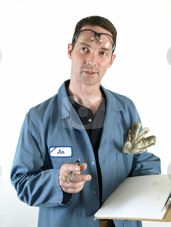 What About This? stock photo, A male in a blue lab coat with a clip board stops writing to ask a question. by Robert Gebbie