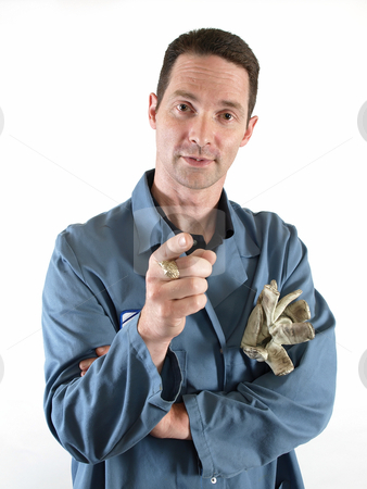 Male in Blue Lab Coat Pointing stock photo, Male in a blue smock gestures with his hand as he speaks by Robert Gebbie