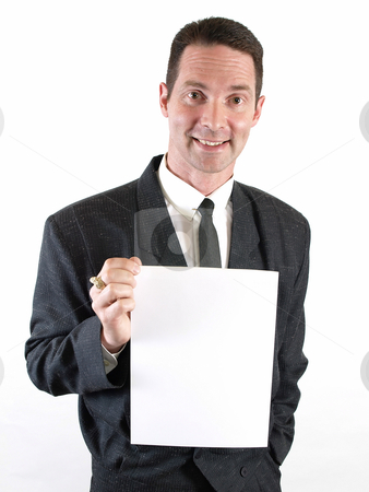Male with Blank Sign stock photo, A man with a broad smile holds a blank white sign. by Robert Gebbie