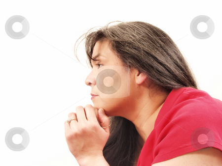Woman Side stock photo, A woman looks off to the distance, a very thoughtful look on her face. by Robert Gebbie
