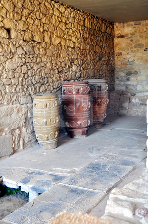 Archaeological site of Knossos. Minoan Palace. Crete. stock photo, Ancient ruins: vases at the Knossos Palace in Crete, Greece by Fernando Barozza