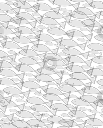 School of fish stock photo, Many grey fishes in different sizes swimming in a group by Wino Evertz