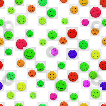 Smiley pattern stock photo, Seamless texture of bright smiley faces on white by Wino Evertz