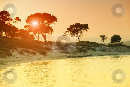 Vourvorou beach in Greece stock photo, Sunset over Vourvorou beach, Sithonia, Chalkidiki, Greece. by Ivan Paunovic