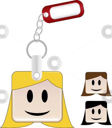 SquareHead_Keychain_Girl stock vector clipart, Keychain with head and tag where you can insert your name by Augusto Cabral Graphiste Rennes