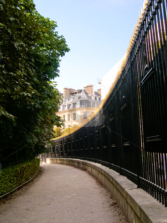 Luxembourg gardens path stock photo, Curved path with fence in Luxembourg Garden by Jaime Pharr