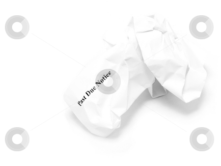 Crumpled past due notice stock photo, Crumpled past due notice on white background by John Teeter