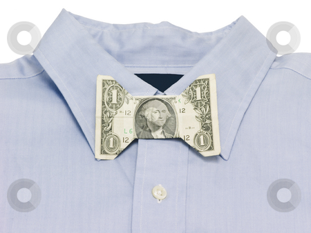 Money bow tie stock photo, Money bow tie on a blue shirt by John Teeter