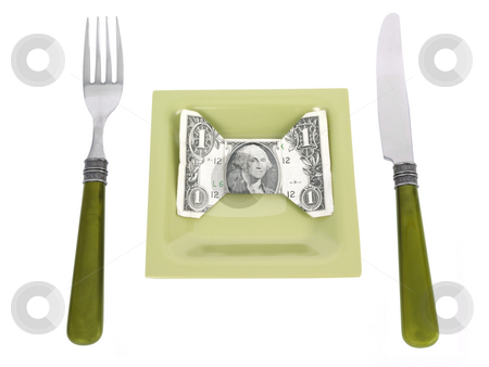 Money Dinner stock photo, Money Dinner concept on a white background by John Teeter