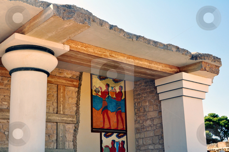 Ancient ruins and frescos at the Knossos Palace in Crete stock photo, Archaeological site of Knossos. Minoan Palace. Greece. by Fernando Barozza