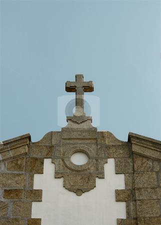 Church cross sky stock photo, Church stone cross on a sunny day by Marc Torrell