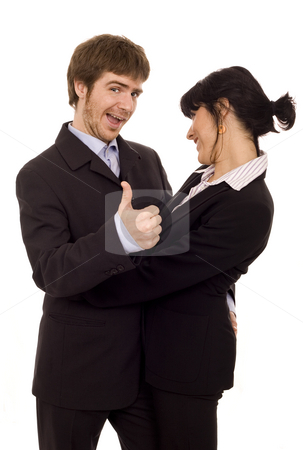 Happy business couple isolate stock photo, Young business couple with lucky guy by Marc Torrell