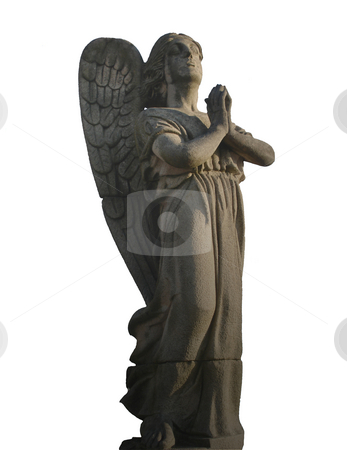 Angel stock photo, Angel stoned sculpture isolated by Marc Torrell