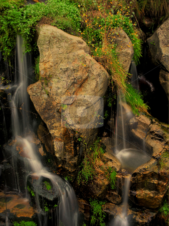 Waterfall stock photo, Movement between the roks of a river waterfall by Marc Torrell
