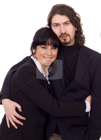 Business couple stock photo, Young business couple white isolate by Marc Torrell