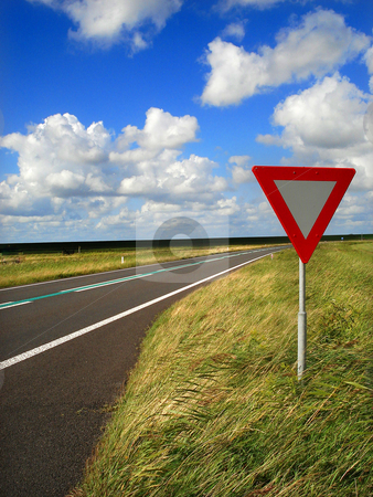 Flat road stock photo, Traffic signs on a netherlands road by Marc Torrell