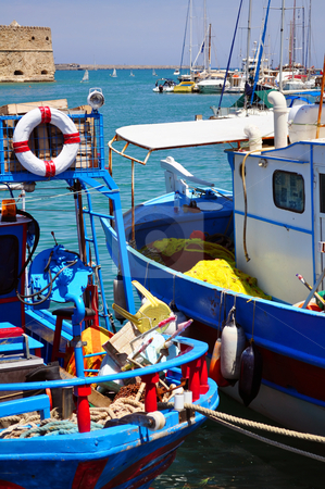 Fishing boats stock photo, Fishing boats. Port of Heraklion, Crete, Greece by Fernando Barozza