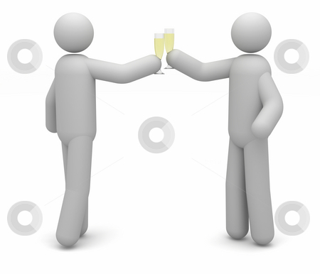 Celebration stock photo, Two people celebrating with a champagne toast by Nuno Andre