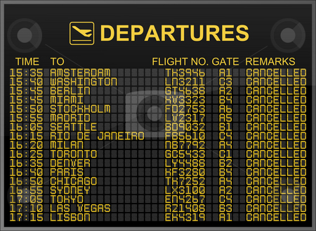 International airport departures board with all flights cancelled stock photo, International airport departures board with all flights cancelled by Nuno Andre