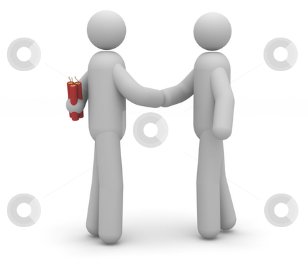 False hand-shake stock photo, False hand-shake that represents bad faith attitude by Nuno Andre
