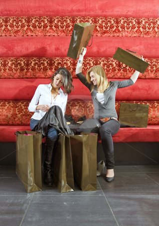 Ecstatic shoppers stock photo, Two women going over their recent purchases from their shopping spree by Corepics VOF