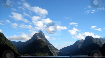 Mitre Peak at Milford Sound stock photo, Mitre Peak in Milford Sound in New Zealand by Kesav Mohan