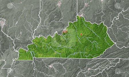 Kentucky, shaded relief map. stock photo, Kentucky, shaded relief map. Colored according to natural appearance, with major urban areas. Includes clip path for the state boundary. Projection: Mercator ; Geographic extents: W: -90.5; E: -81.0; S: 35.5; N: 40.0 by Michael Schmeling