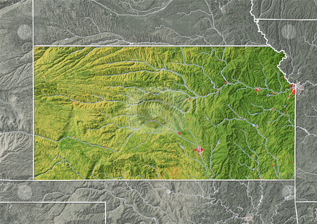 Kansas, shaded relief map. stock photo, Kansas, shaded relief map. Colored according to natural appearance, with major urban areas. Includes clip path for the state boundary. Projection: Mercator ; Geographic extents: W: -103.0; E: -94.0; S: 36.0; N: 41.0 by Michael Schmeling