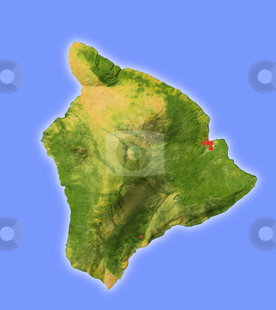 Hawaii, shaded relief map. stock photo, Hawaii, shaded relief map. Colored according to natural appearance, with major urban areas. Includes clip paths for the land area. 