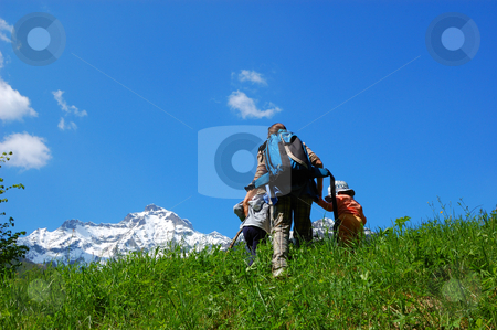 Family trekking stock photo, Mountain Family trekking by ALESSANDRO TERMIGNONE