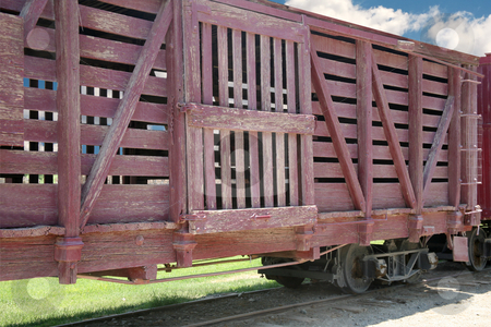Railroad car stock photo, Very weathered redwood railroad box car by Stacy Barnett