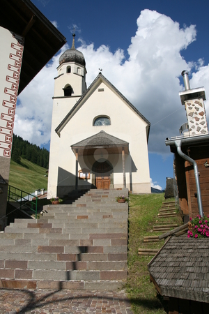 Penia Church stock photo, Small church in Penia near Canazei. Canazei is a famous small town in trentino,  italian Dolomiti by ANTONIO SCARPI