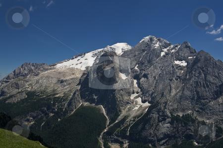 Marmolada stock photo, Summer view of Marmolada. This is the most famous mountain in italian dolomites. Photo taken with circular polarizer by ANTONIO SCARPI