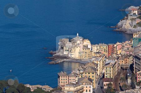 Camogli panorama stock photo, The churh and the seaside of Camogli, famous small town near Genova, italy by ANTONIO SCARPI
