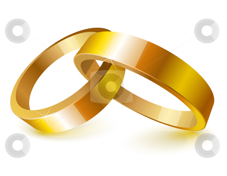 Gold wedding rings stock vector clipart, Gold wedding rings over white by Laurent Renault