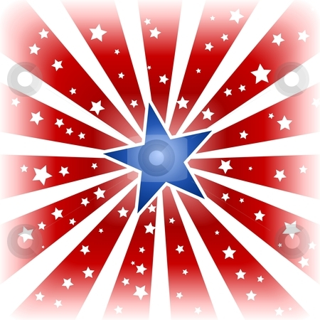 Star burst in USA colors stock vector clipart, USA, 4th of july red white star burst with shiny blue centre star and little white stars in the red areas. Use of a background blend, global colors. by Ina Wendrock