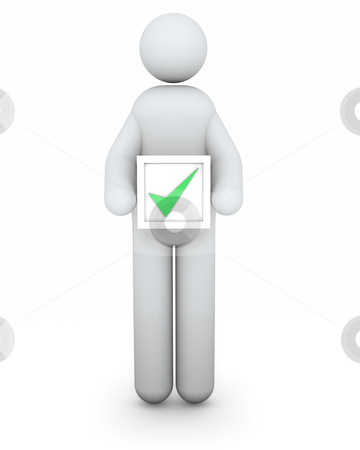 Selected man stock photo, Selected man with a tick in an electoral process by Nuno Andre