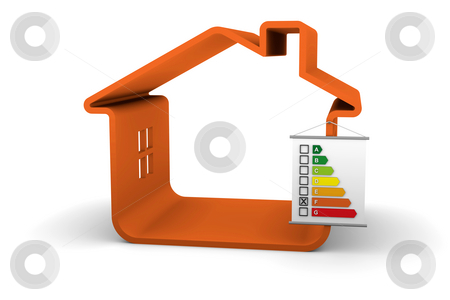 Building Energy Performance F Classification stock photo, House with an F energy performance classification by Nuno Andre