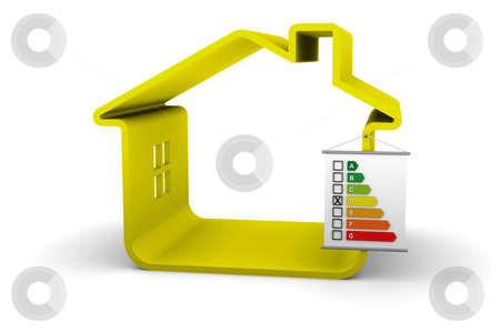 Building Energy Performance D Classification stock photo, House with an D energy performance classification by Nuno Andre