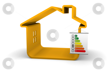 Building Energy Performance E Classification stock photo, House with an E energy performance classification by Nuno Andre