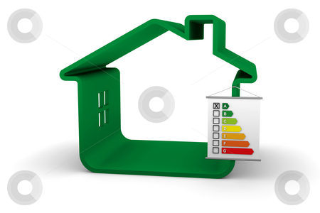 Building Energy Performance A Classification stock photo, House with an B energy performance classification by Nuno Andre