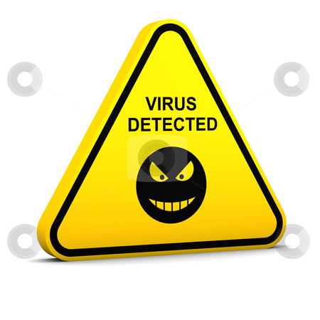 Warning: virus detected stock photo, Warning applied to human health and computer data by Nuno Andre