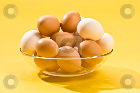 Egg stock photo, Macro picture of brown and white eegs by Gennady Kravetsky