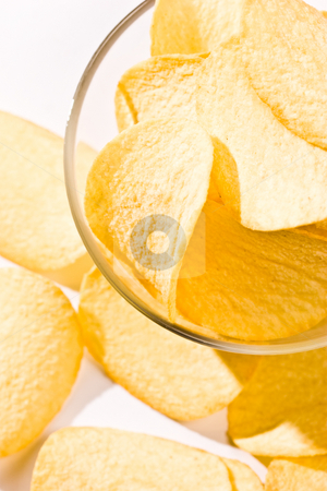 Potato chipson stock photo, Food series: golden potato chips on the bowl by Gennady Kravetsky
